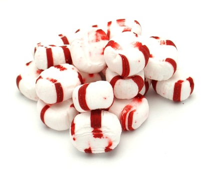 piedmont candy red white striped peppermint puffs unwrapped