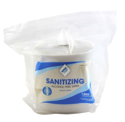 Hand Sanitizing Wipes Lemon Alcohol Free 1200 CT Refill Bag