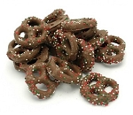 Weaver Chocolates Milk Chocolate Covered Mini Pretzels With Christmas Non Pariels